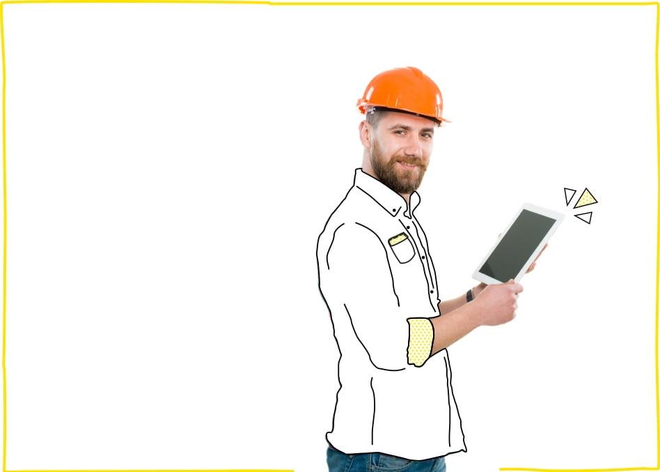 Hombre con casco de obrero naranja disfrutando de una de nuestras tarifas móvil para negocios y autónomos