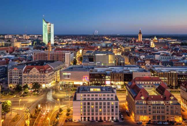 Beautiful skyline of the East German metropolis Leipzig