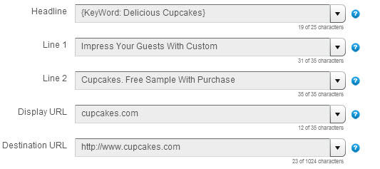 dynamic keyword insertion delicious cupcakes ad