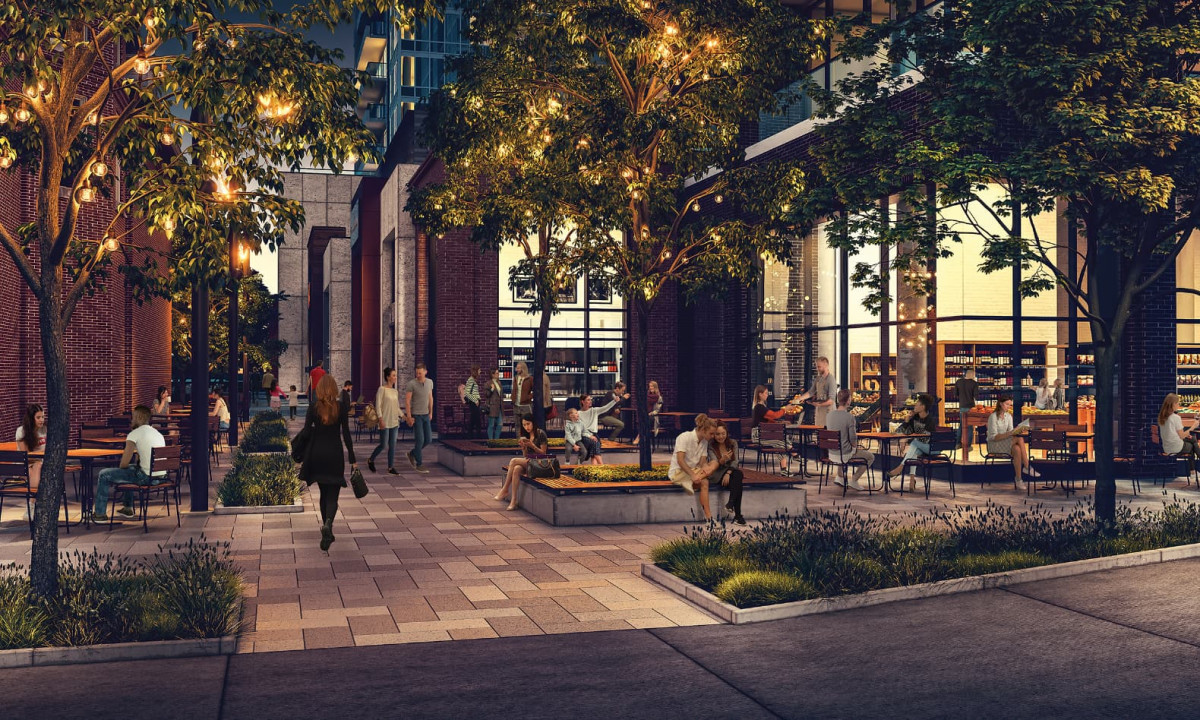 Render of the food alley at Station Park