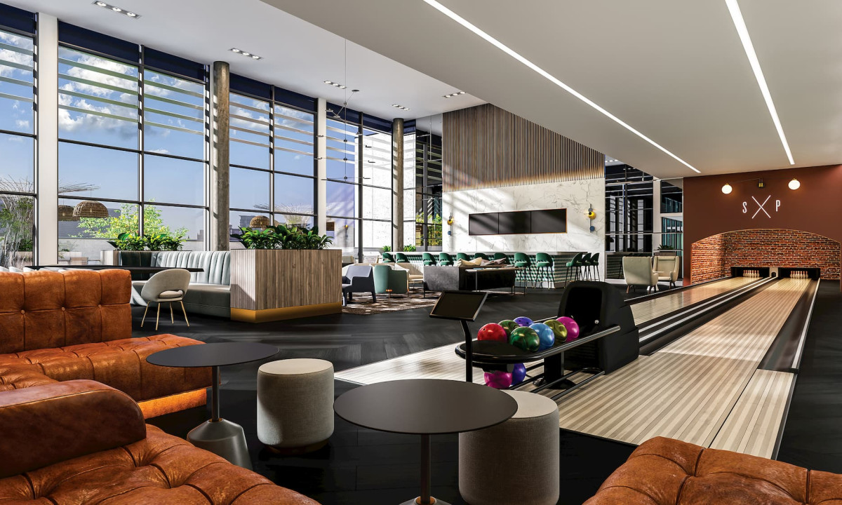 Rendering of the bowling lounge at Union Towers