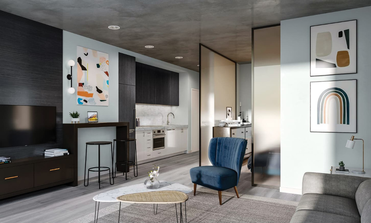 Rendering of a suite at Union Towers