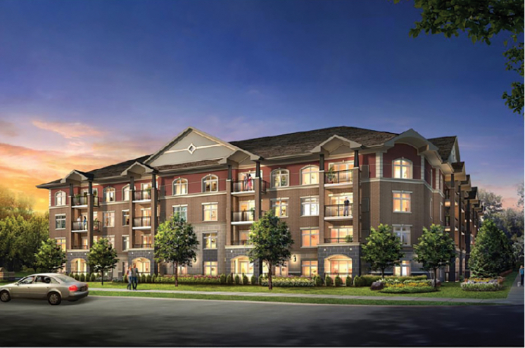Rendering of the exterior of V2 Condos in Guelph