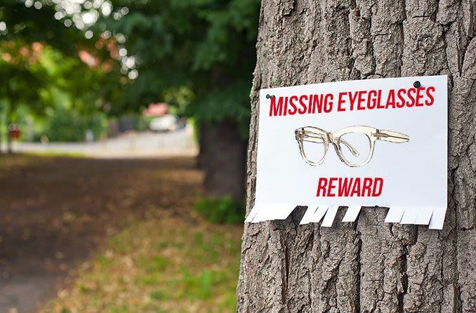 missing eyeglasses poster