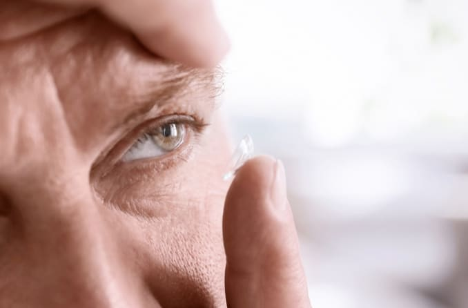 man with contact lens