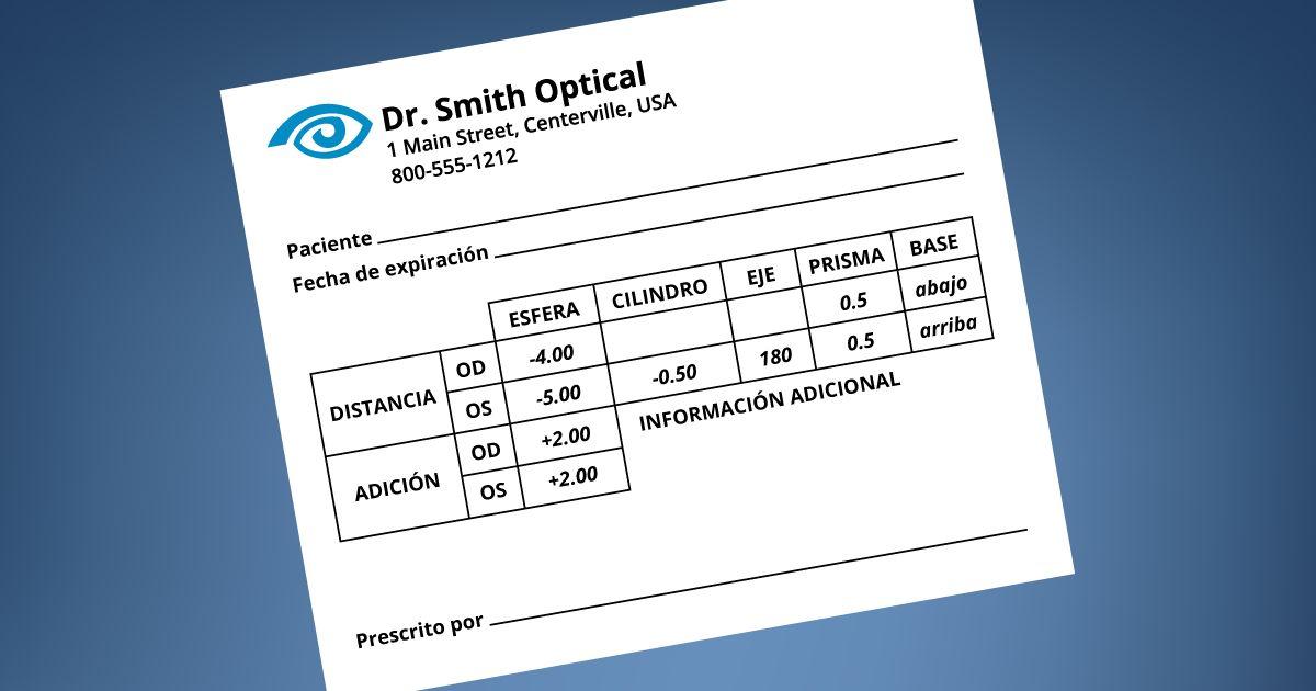 Ejemplo de prescripción de gafas