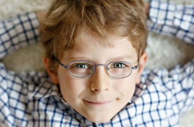 Young boy wearing eyeglasses