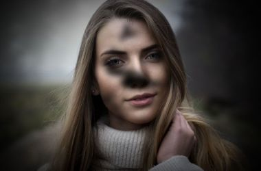 Distorted image of woman due to vision problems