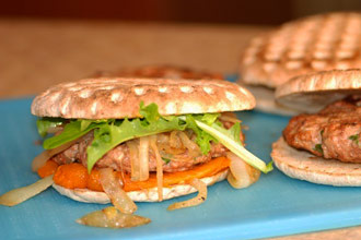 Turkey Burgers With Roasted Orange Peppers