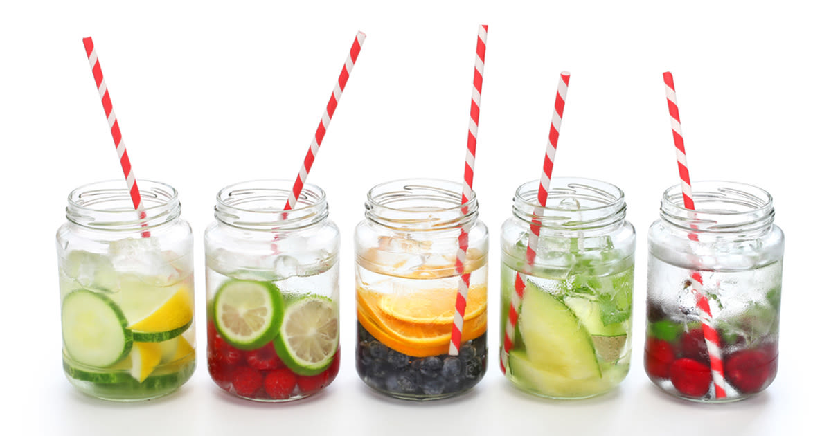 row of glasses showing examples of infused water