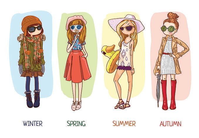 illustration of woman wearing sunglasses in all four seasons