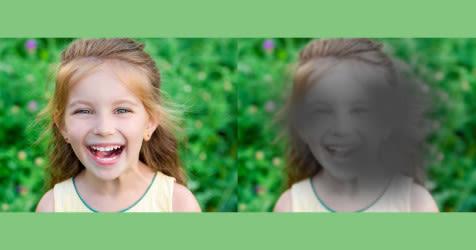 Vista de lado a lado de una niña con visión normal y visión con degeneración macular