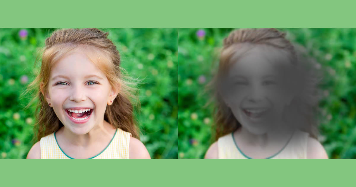 normal view of child; view with macular degeneration (AMD)