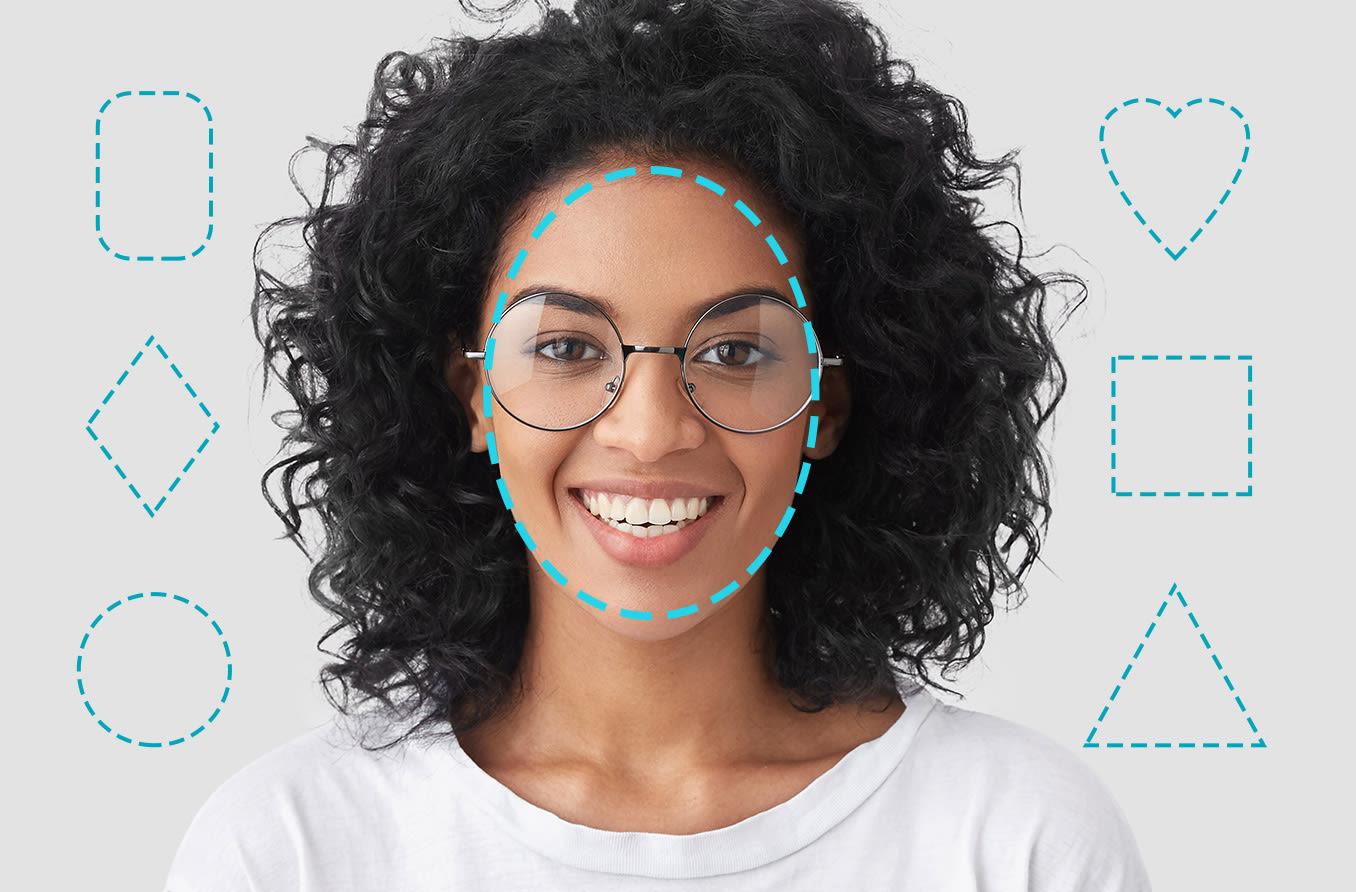 mulher com um rosto oval em forma de óculos