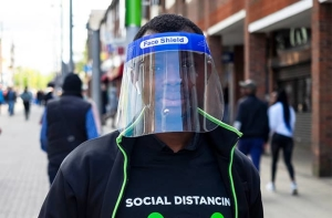 man wearing a face shield to protect from coronavirus