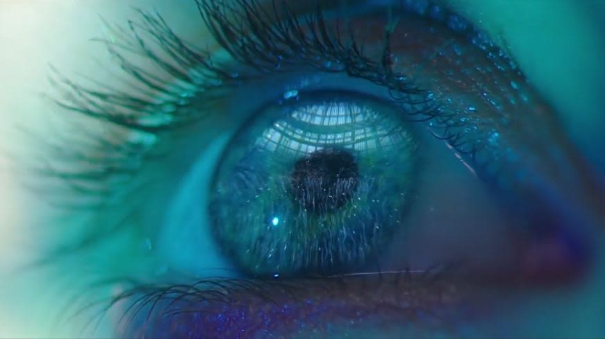 closeup of eye affected by blue light