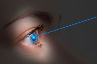 Person receiving Lasik correction for nearsightedness