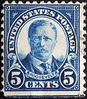 Stamp of President Ted Roosevelt