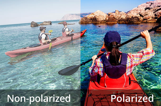 non-polarized vs polarized view of outdoor setting