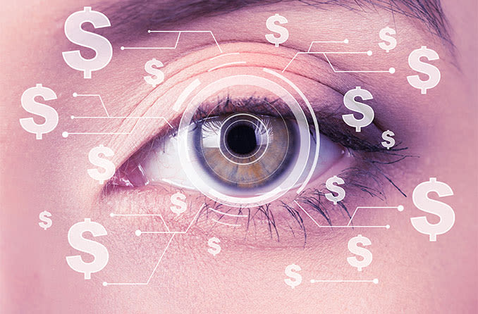 closeup of an eye getting with dollar signs all around