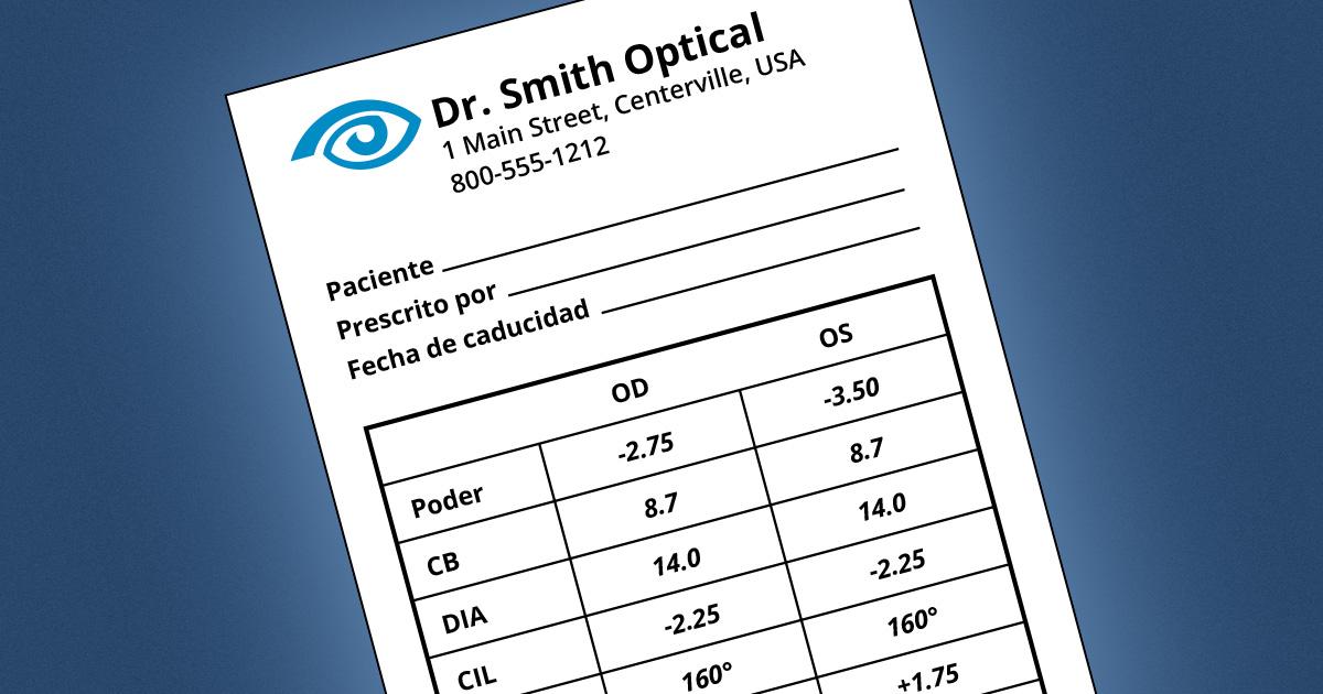 Comprensión de la receta de lentes de contacto