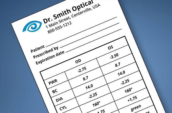 contact lens prescription