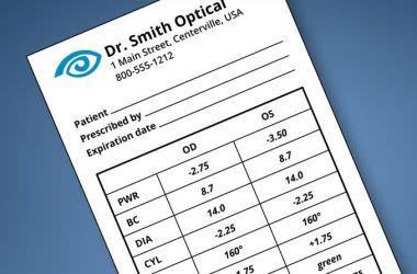 prescription de lentilles de contact