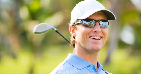 Golfer wearing performance sunnies