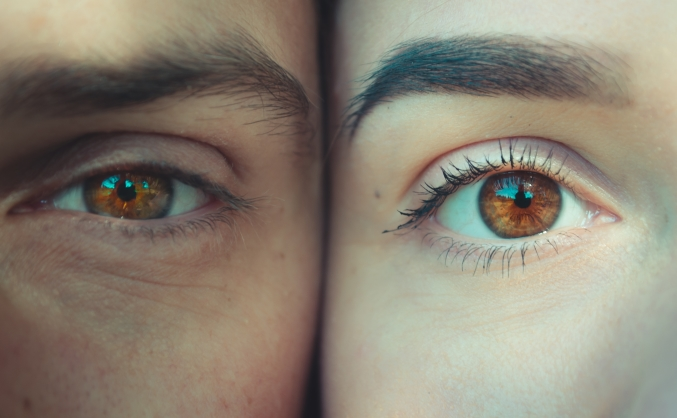 man and woman eyes