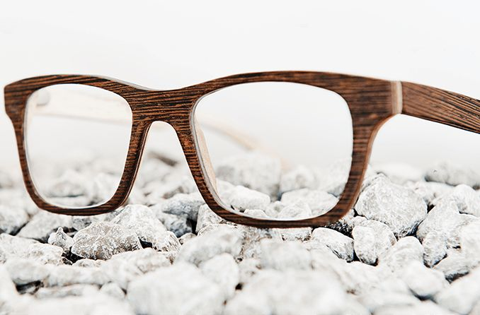 eyeglasses with wood frame material