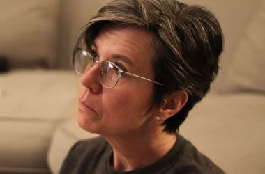 Woman wearing progressive lenses