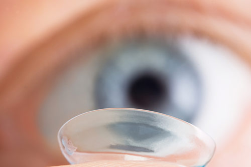 close-up of a contact lens