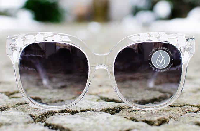 sunglasses with hypoallergenic label on it