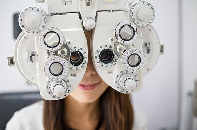 What tests are part of an eye exam?