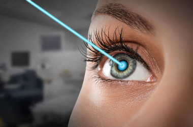 woman receiving lasik enhancement