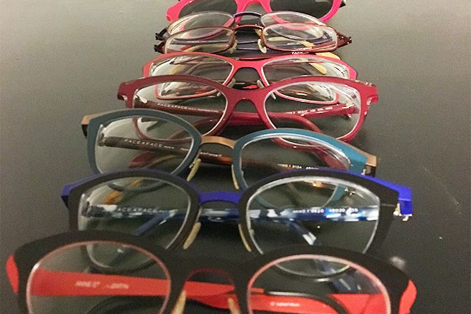 Row of different types of eyeglasses