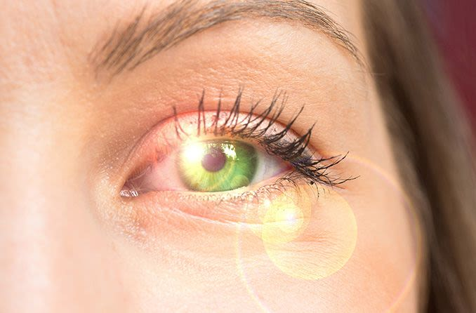 sunlight shining on woman's eye