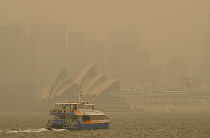 Ash and smoke over Australia's Sydney harbour
