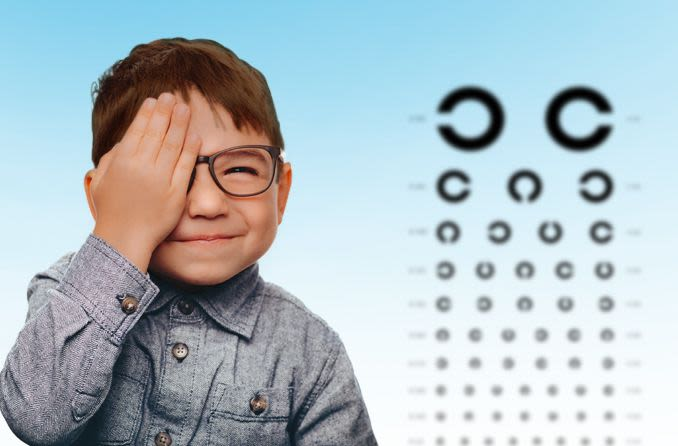 Boy getting an eye exam