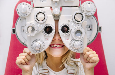 Girl getting an eye exam