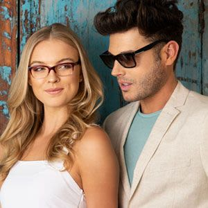 Man and woman wearing trendy eyewear