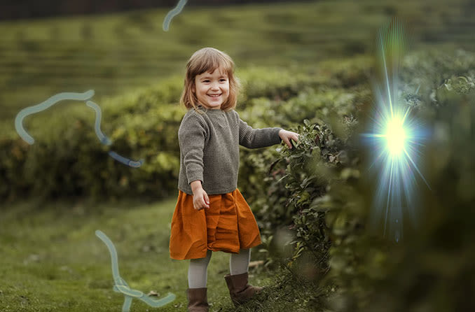 view of a little girl from a person experiencing eye floaters and eye flashes