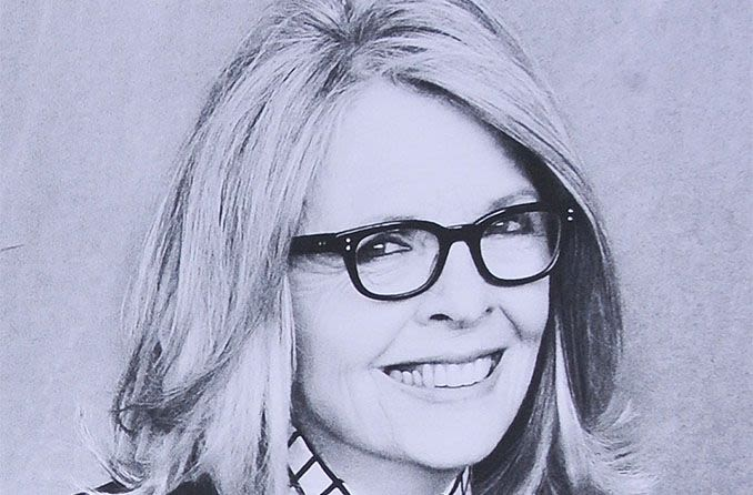 Diane Keaton wearing wayfarer eyeglasses