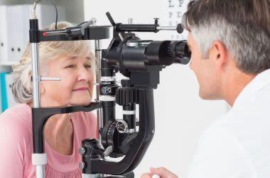Woman receiving sight-saving eye examination