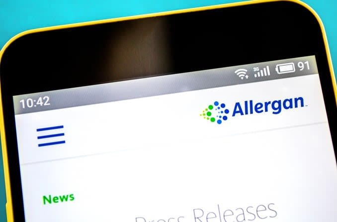 The Allergan website homepage is displayed on a smartphone screen.