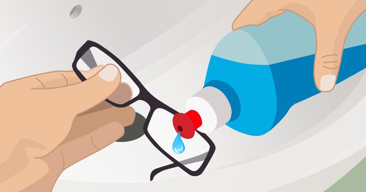 ilustração de como limpar os óculos