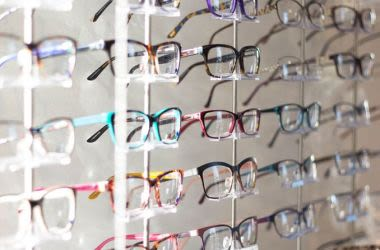 rows of eyeglasses