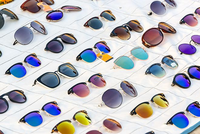 Different types of sunglasses on display