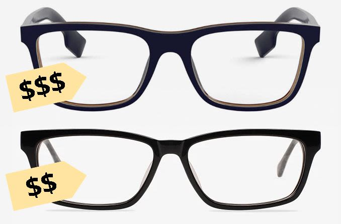 óculos com etiquetas de preço