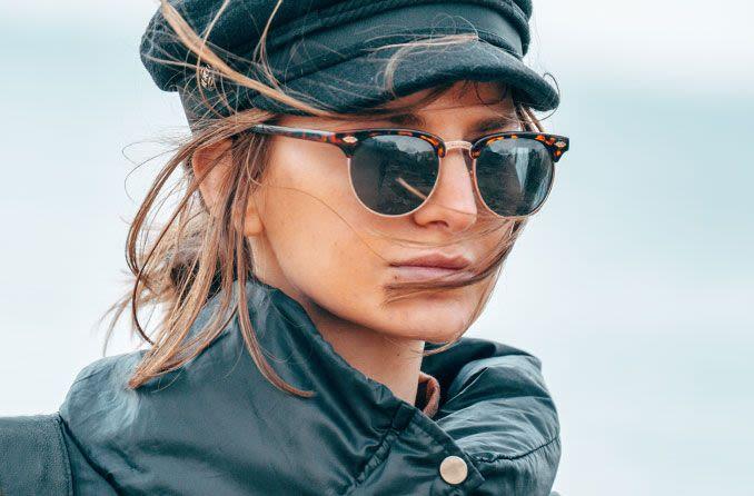 trendy woman wearing sunglasses